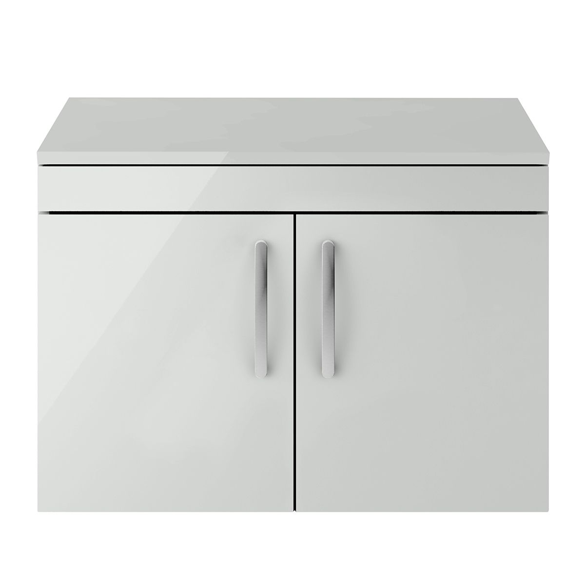 Nuie Athena Gloss Grey Mist 2 Door Wall Hung Unit 800mm with Worktop