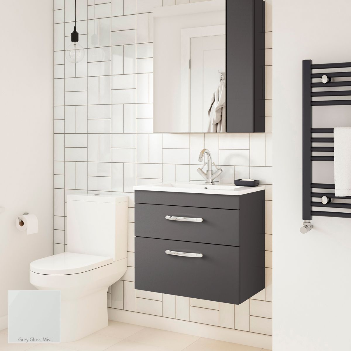 Nuie Athena Gloss Grey Mist 2 Drawer Wall Hung Vanity Unit 600mm