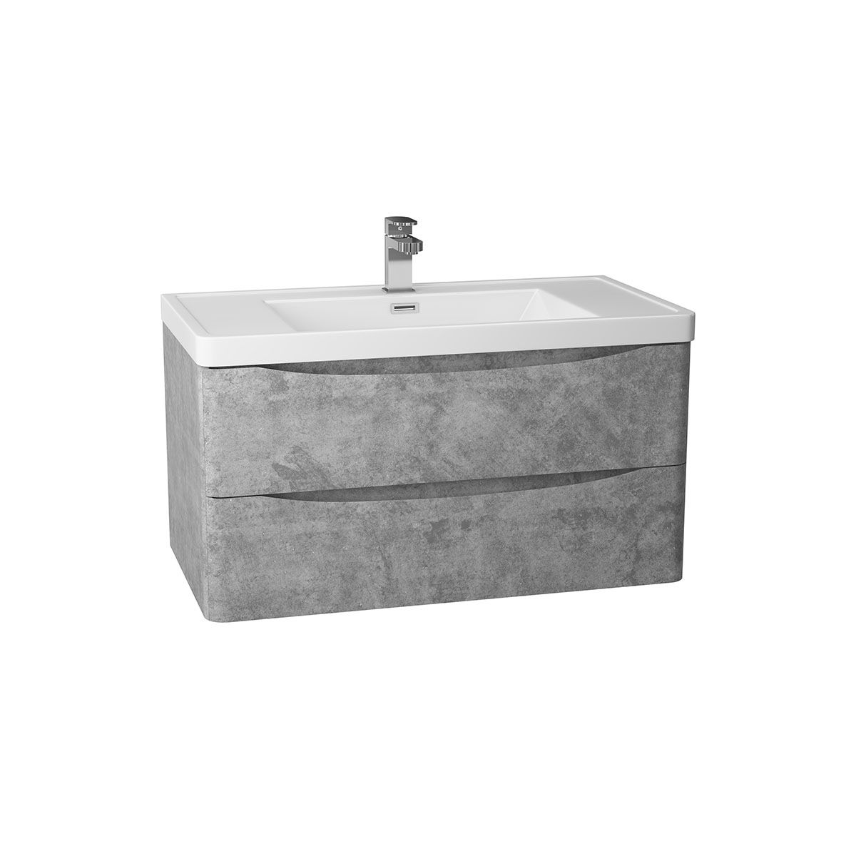 Bali Concrete Grey Wall Mounted Vanity Unit 900mm