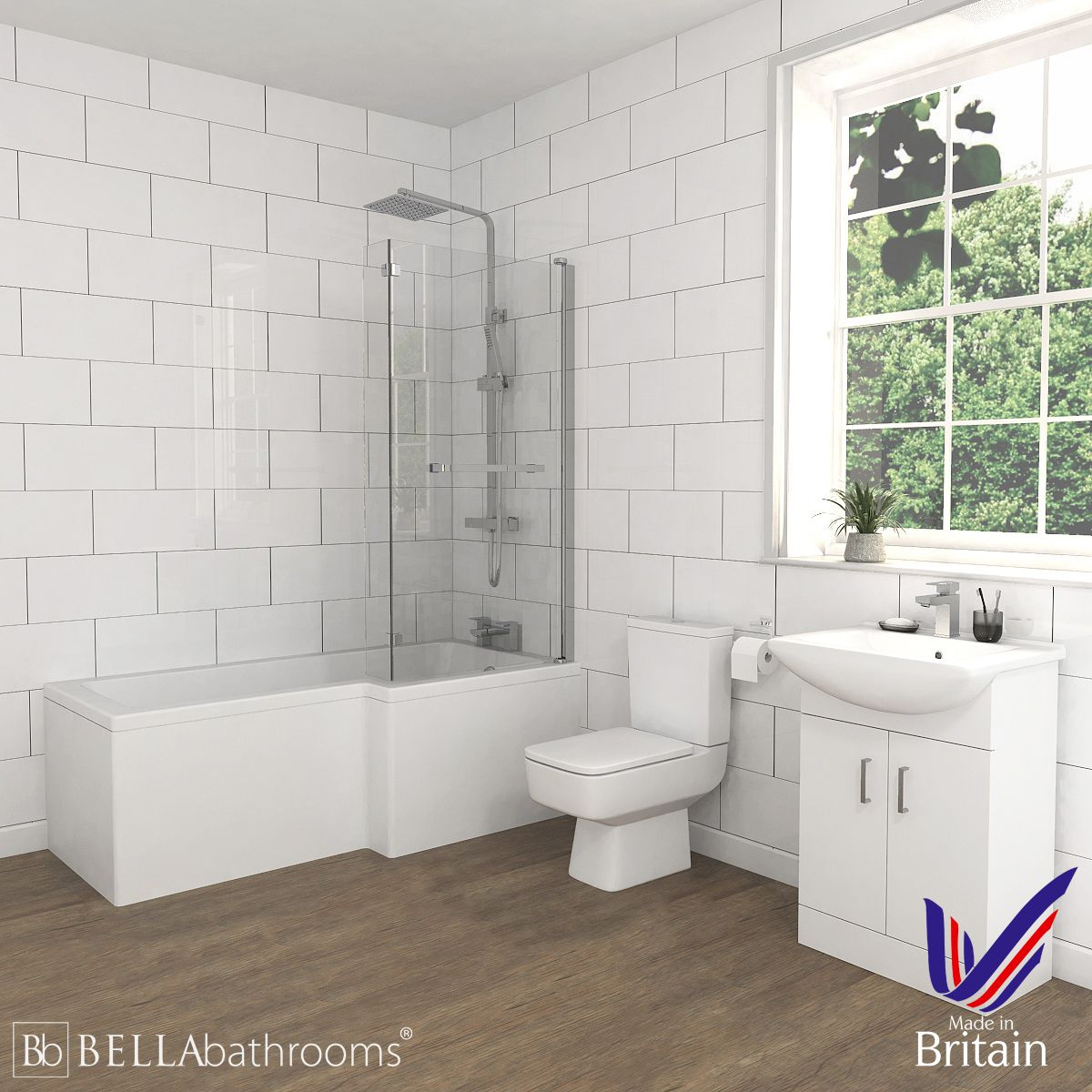Bliss White Vanity Unit Right Handed L Shaped Shower Bath Suite