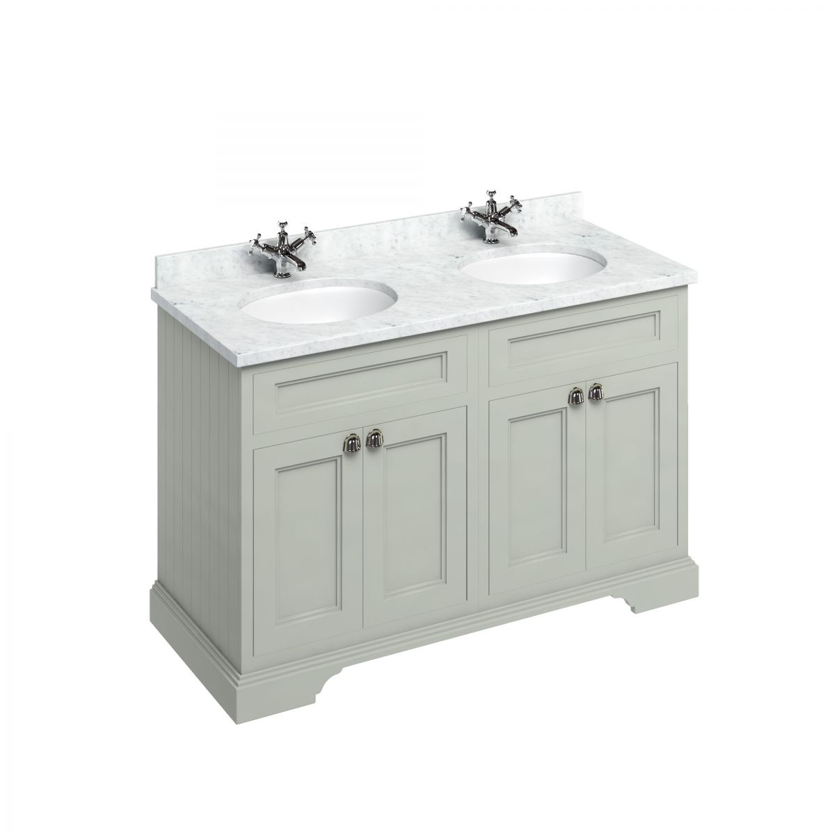 Burlington Dark Olive Double Freestanding Vanity Unit 1300mm Carrara White