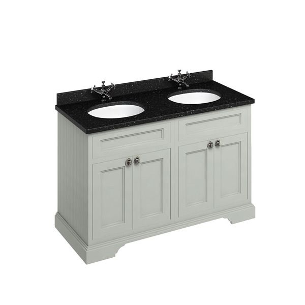 Burlington Dark Olive Double Freestanding Vanity Unit 1300mm Granite Black