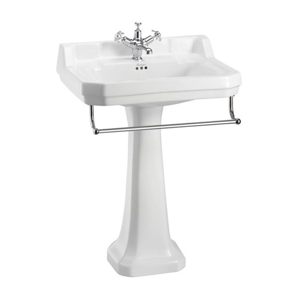 Burlington Edwardian Basin and Full Pedestal with Towel Rail 610mm