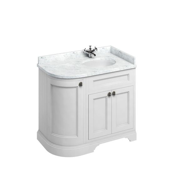 Burlington Matt White Freestanding Right End Round Vanity Unit 980mm Carrara White