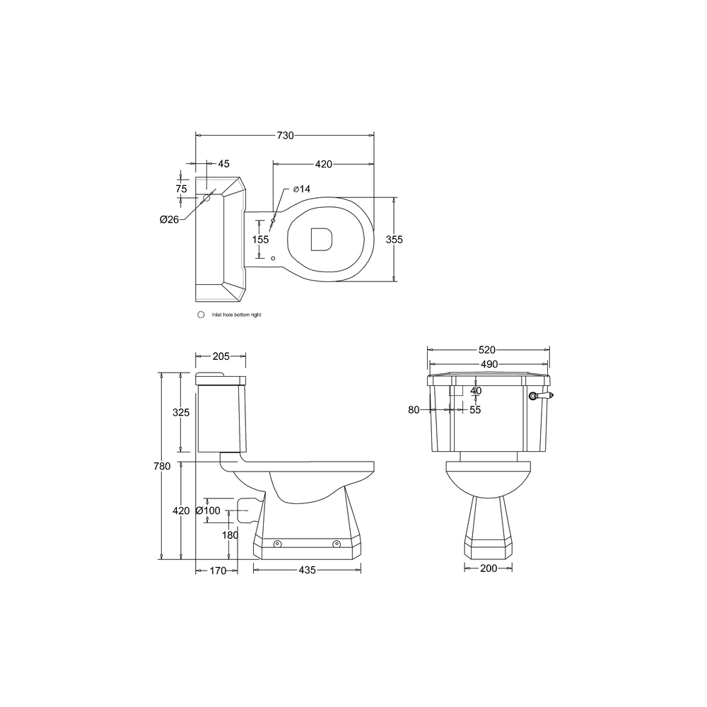 Burlington Jet Close Coupled Toilet Dimensions