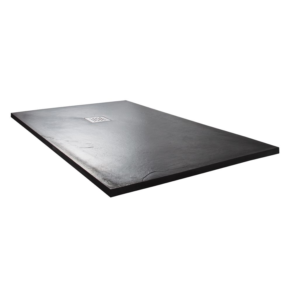 Cassellie Cass Stone Anthracite Slate Effect Rectangular Shower Tray 1500 x 900mm