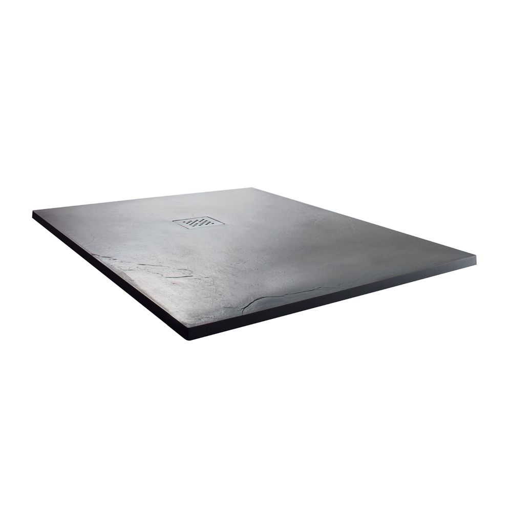 Cassellie Cass Stone Anthracite Slate Effect Square Shower Tray 900 x 900mm