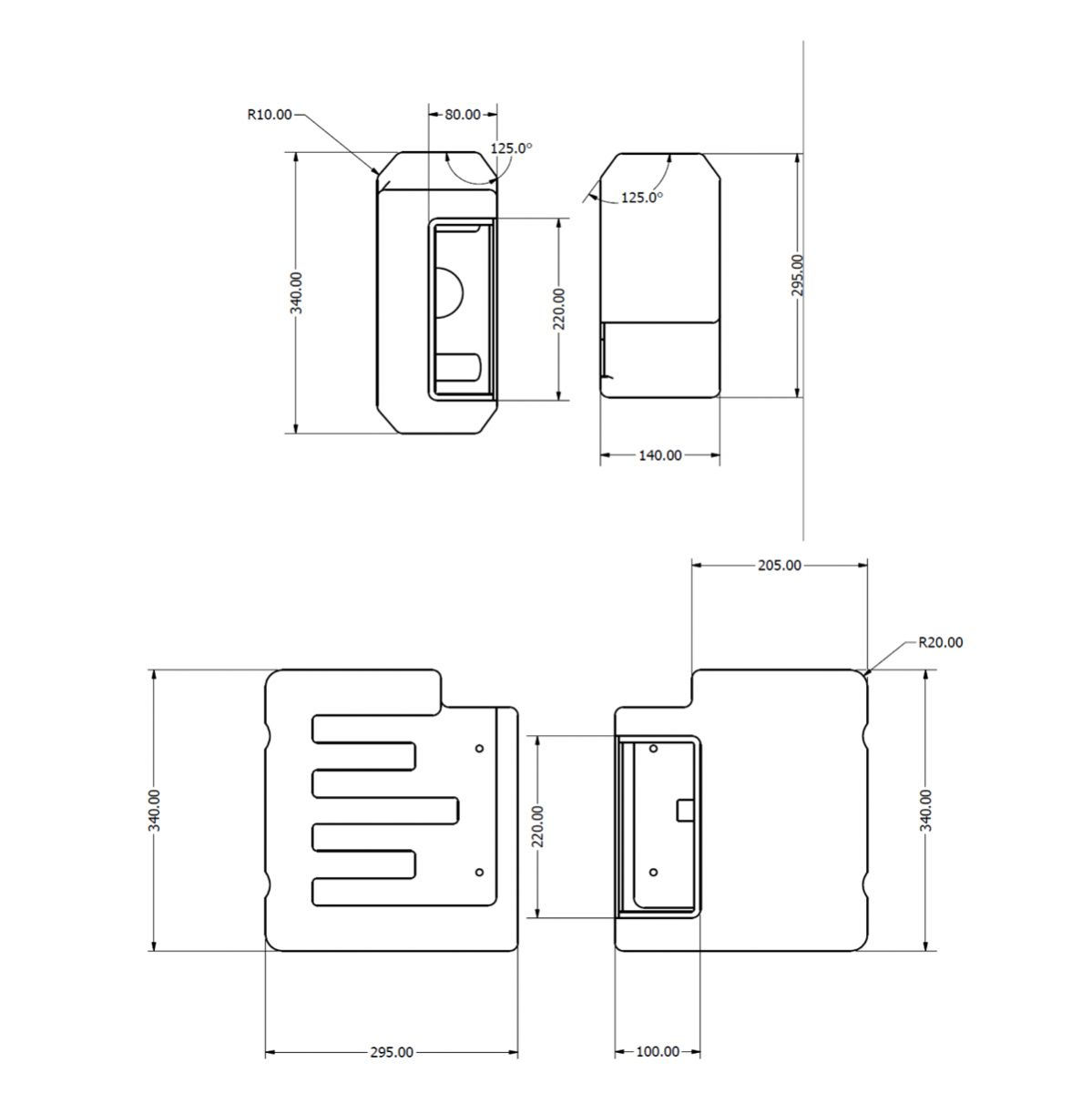 Cassellie Dual Flush Concealed Cistern and Square Push Button Dimensions