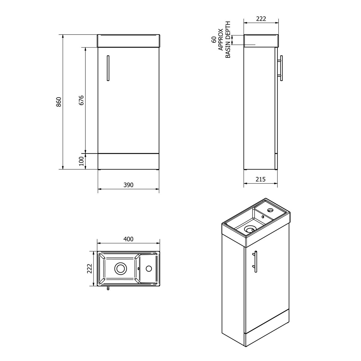 Cassellie 400 Series French Grey Single Door Vanity Unit Dimensions