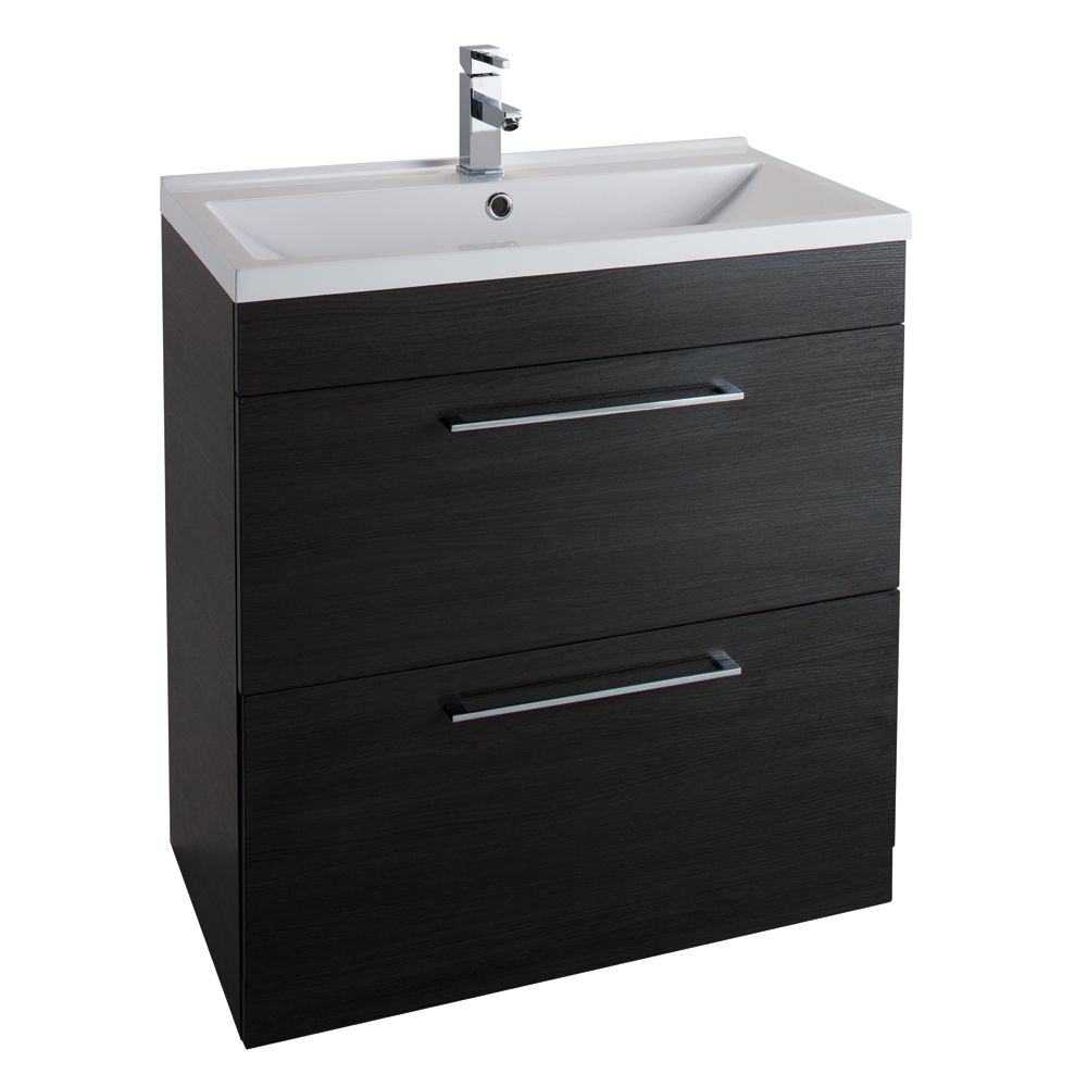 Cassellie Idon Black 2 Drawer Vanity Unit with Basin 800mm