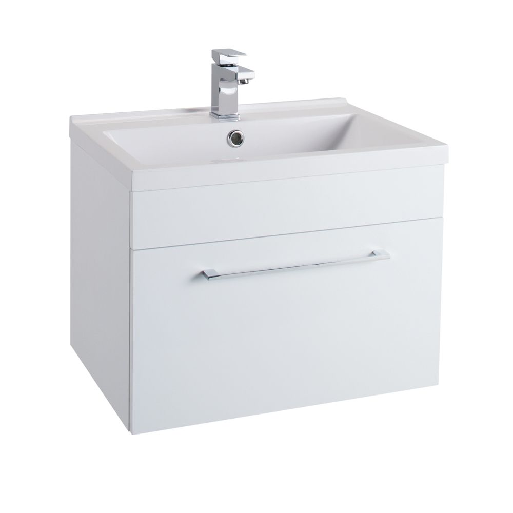 Cassellie Idon Gloss White Wall Hung Vanity Unit with Basin 600mm