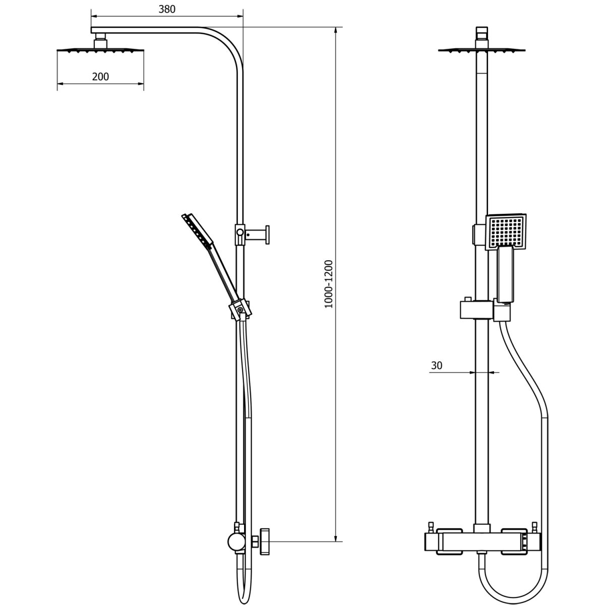 Cassellie Quadrato Thermostatic Mixer Shower Kit Dimensions