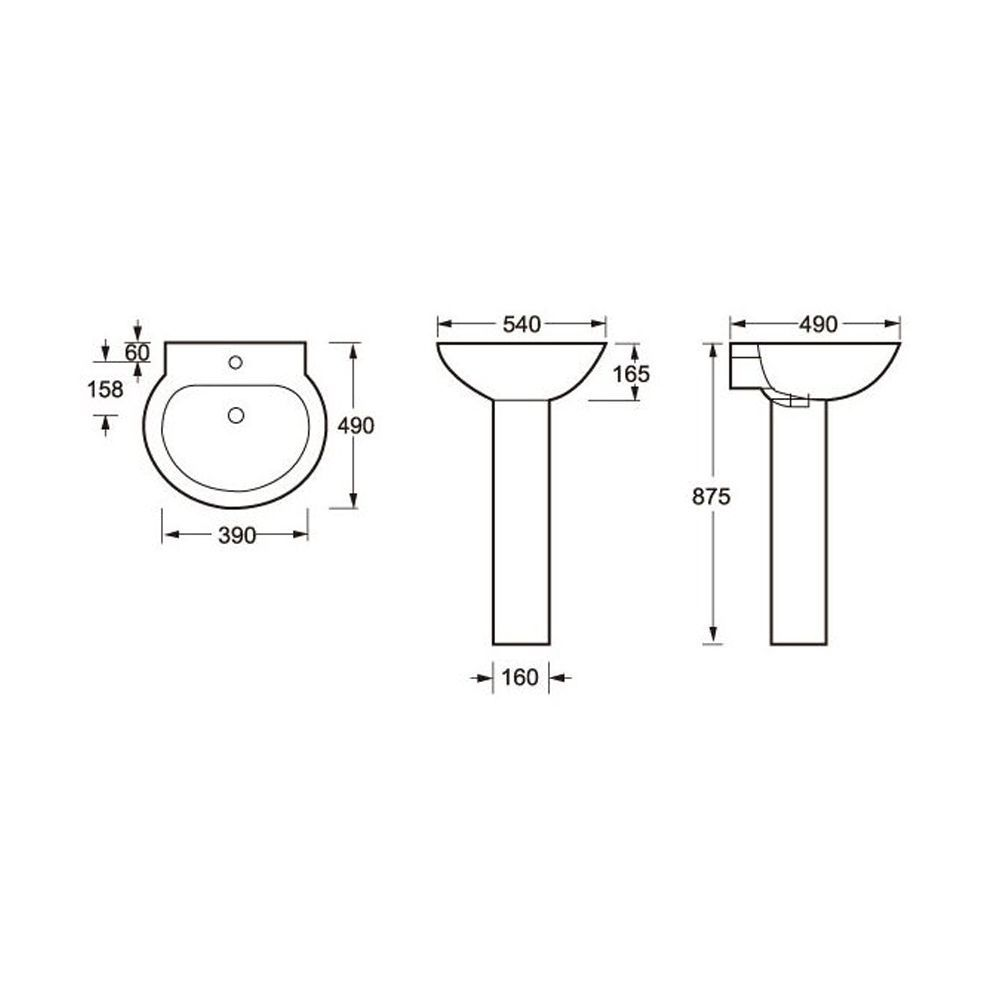 Cassellie Wharfe 1 Tap Hole Basin with Full Pedestal Drawing