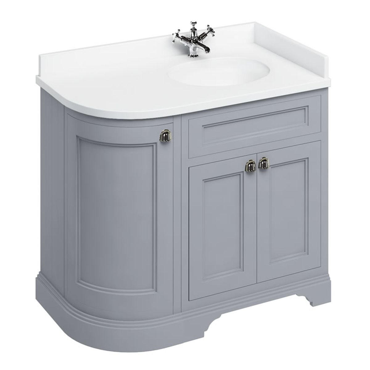 Burlington Classic Grey Freestanding Right Hand Curved Corner Vanity Unit 1340mm