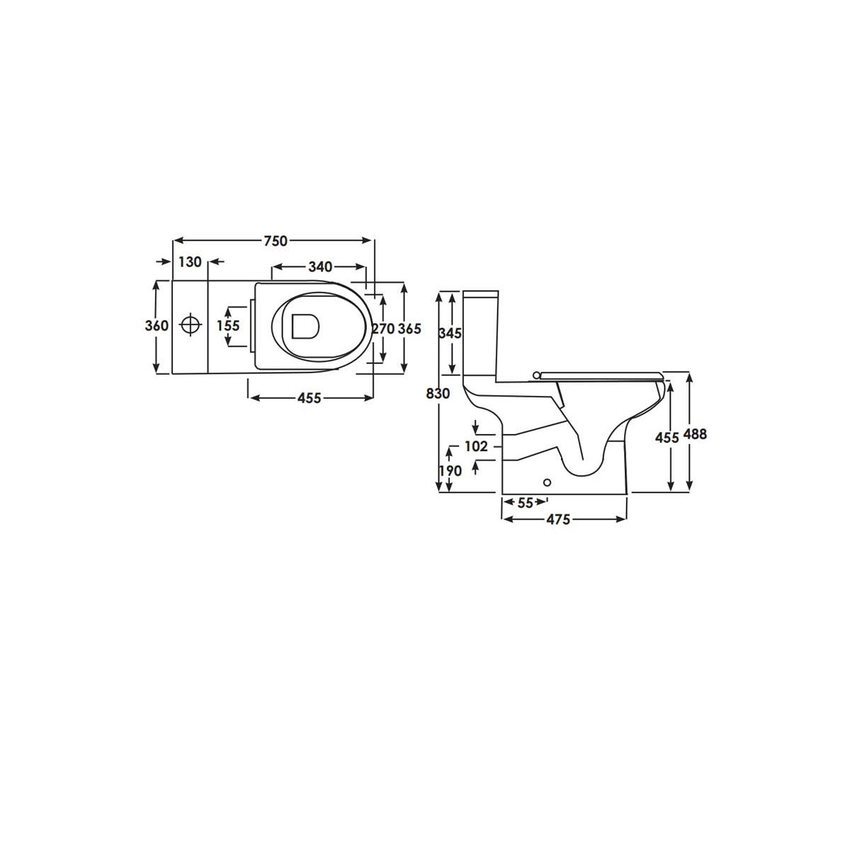 RAK Compact Special Needs Back To Wall Toilet 750mm Measurements