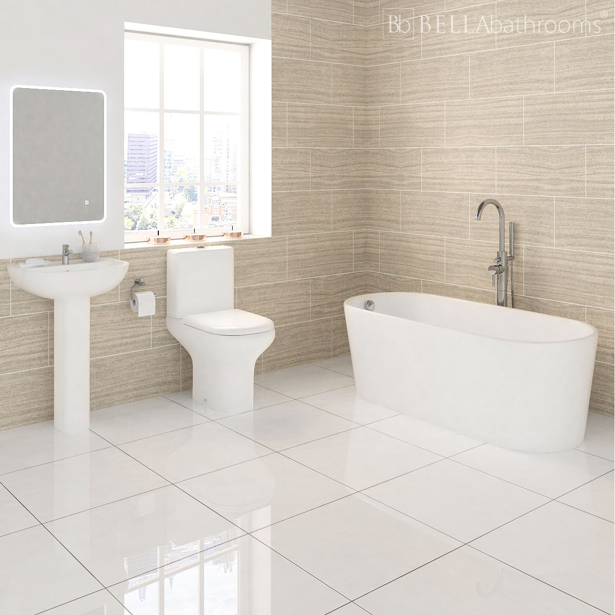 RAK Compact Gloss White Suite with Brearton Freestanding Bath