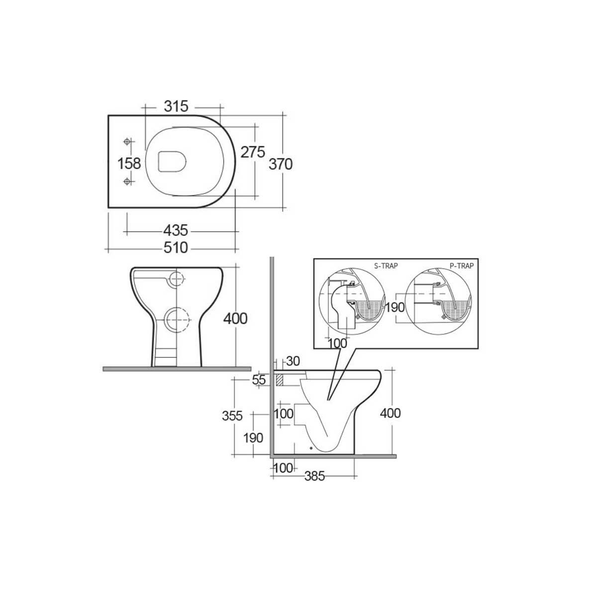 RAK Compact Wall Hung Toilet with Soft Close Seat Measurements