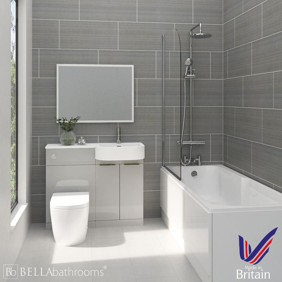 Elation Combination P Shape Pearl Grey Matt Furniture Suite with Nuie Linton Shower Bath Right Hand