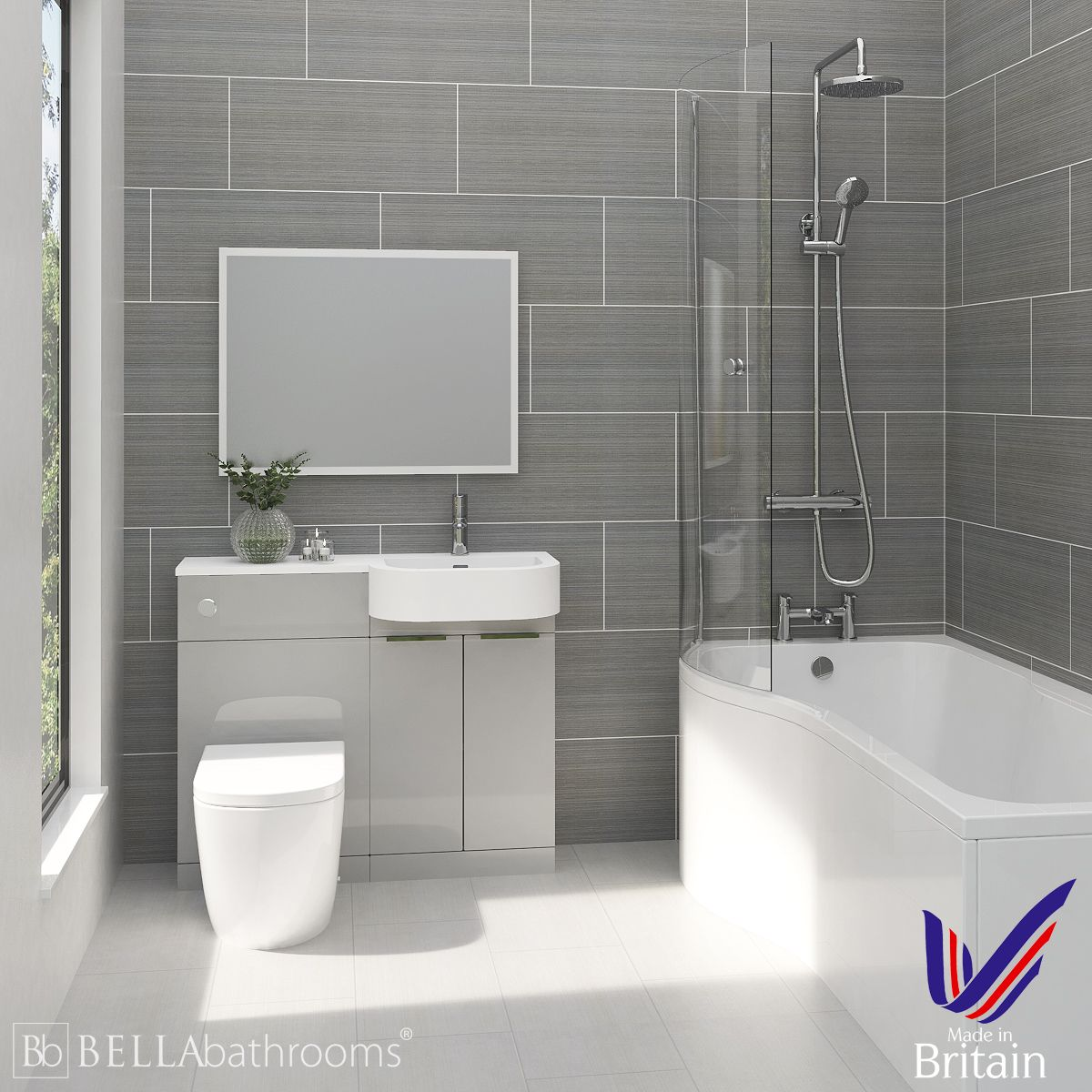 Elation Combination P Shape Pearl Grey Matt Furniture Suite with Left Hand P Shape Shower Bath