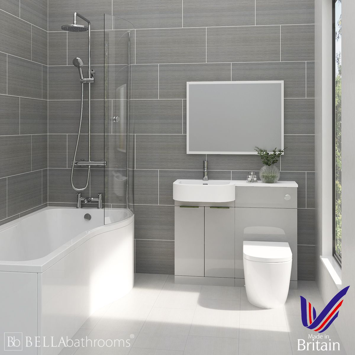 Elation Combination P Shape Pearl Grey Matt Furniture Suite with Right Hand P Shape Shower Bath