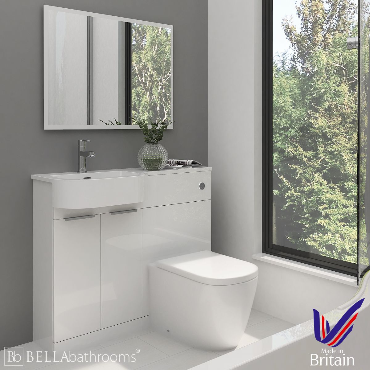 Elation Combination P Shape White Furniture Pack 1010mm with Cayton Toilet