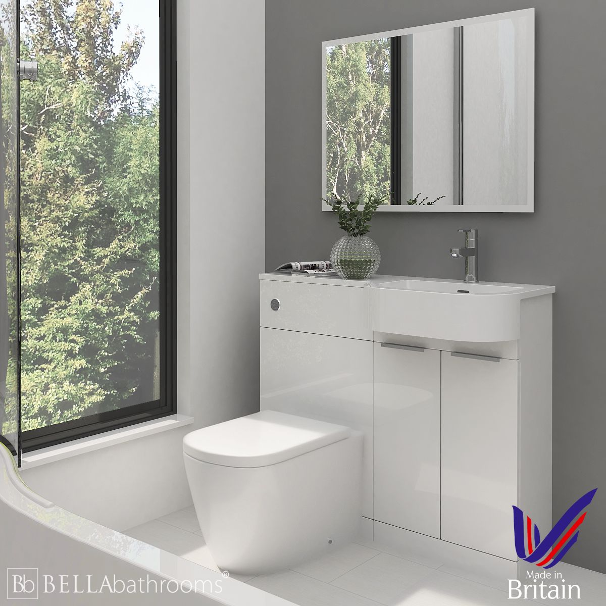 Elation Combination P Shape White Furniture Pack 1010mm Right Hand with Cayton Toilet