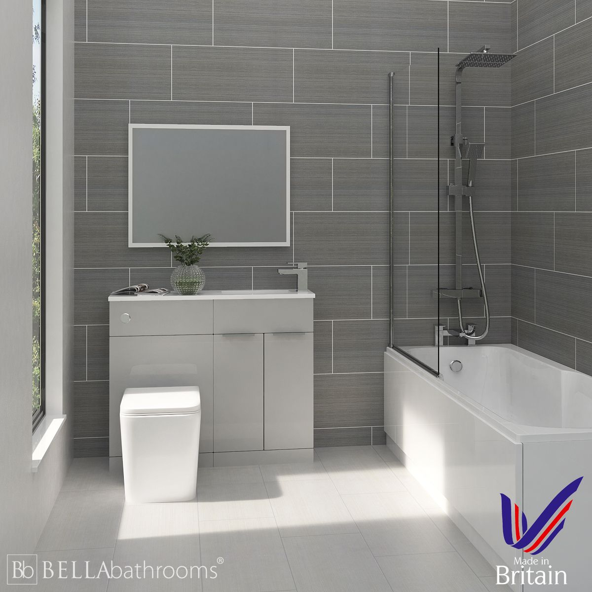 Elation Combination Pearl Grey Matt Furniture Suite with Nuie Linton Shower Bath
