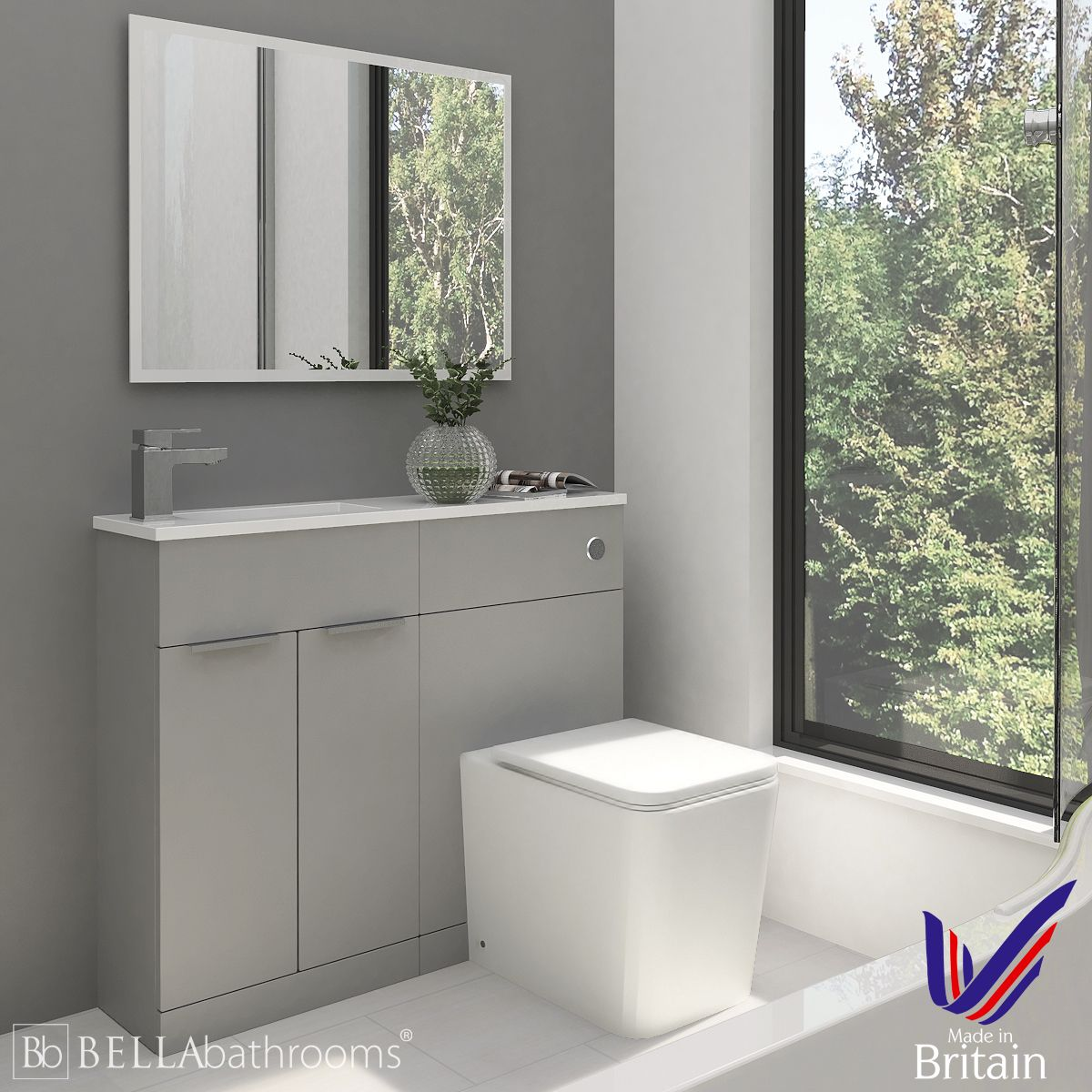 Elation Combination Straight Pearl Grey Matt Furniture Pack 1000mm Left Hand with Brearton Toilet