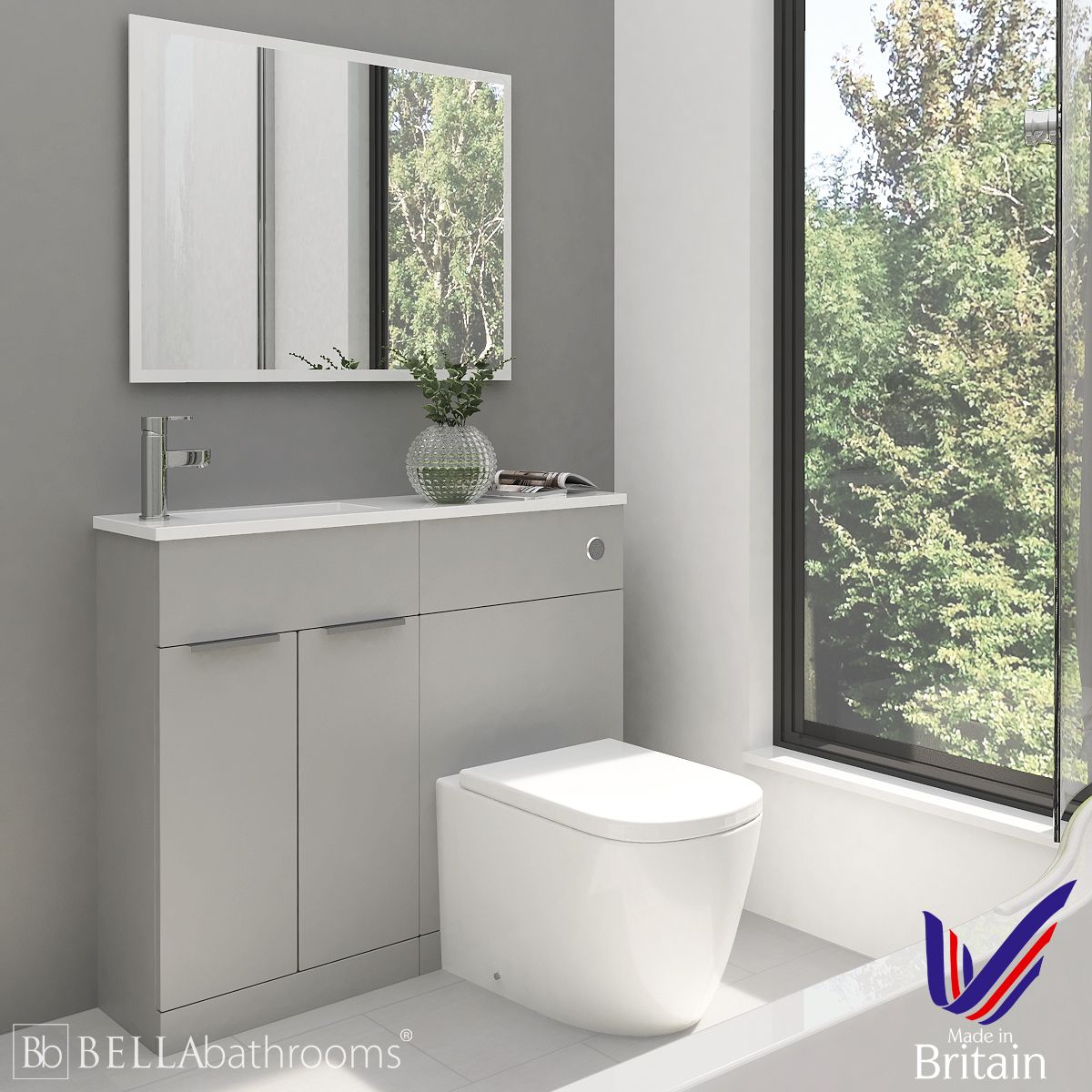 Elation Combination Straight Pearl Grey Matt Furniture Pack 1000mm Left Hand with Cayton Toilet