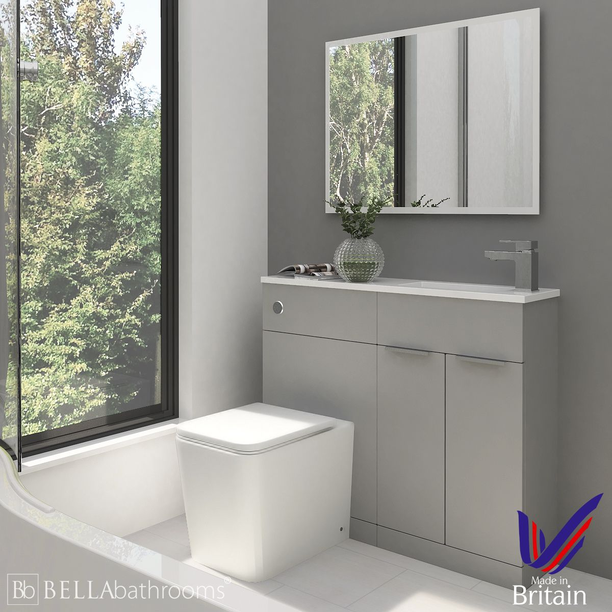 Elation Combination Straight Pearl Grey Matt Furniture Pack 1000mm Right Hand with Brearton Toilet