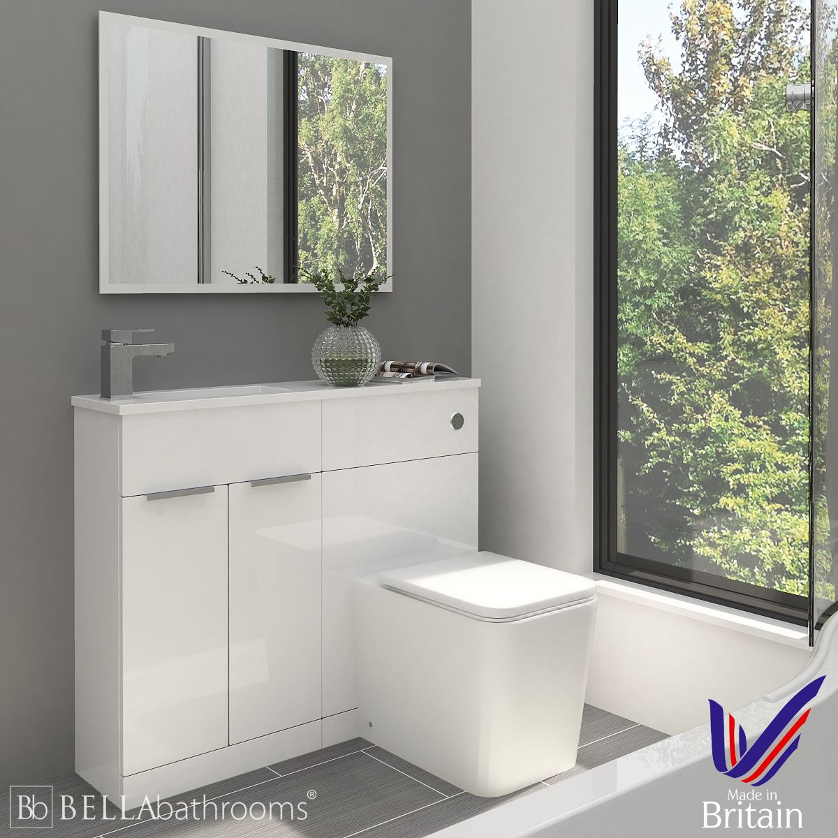 Elation Combination Straight White Furniture Pack 1000mm with Brearton Toilet