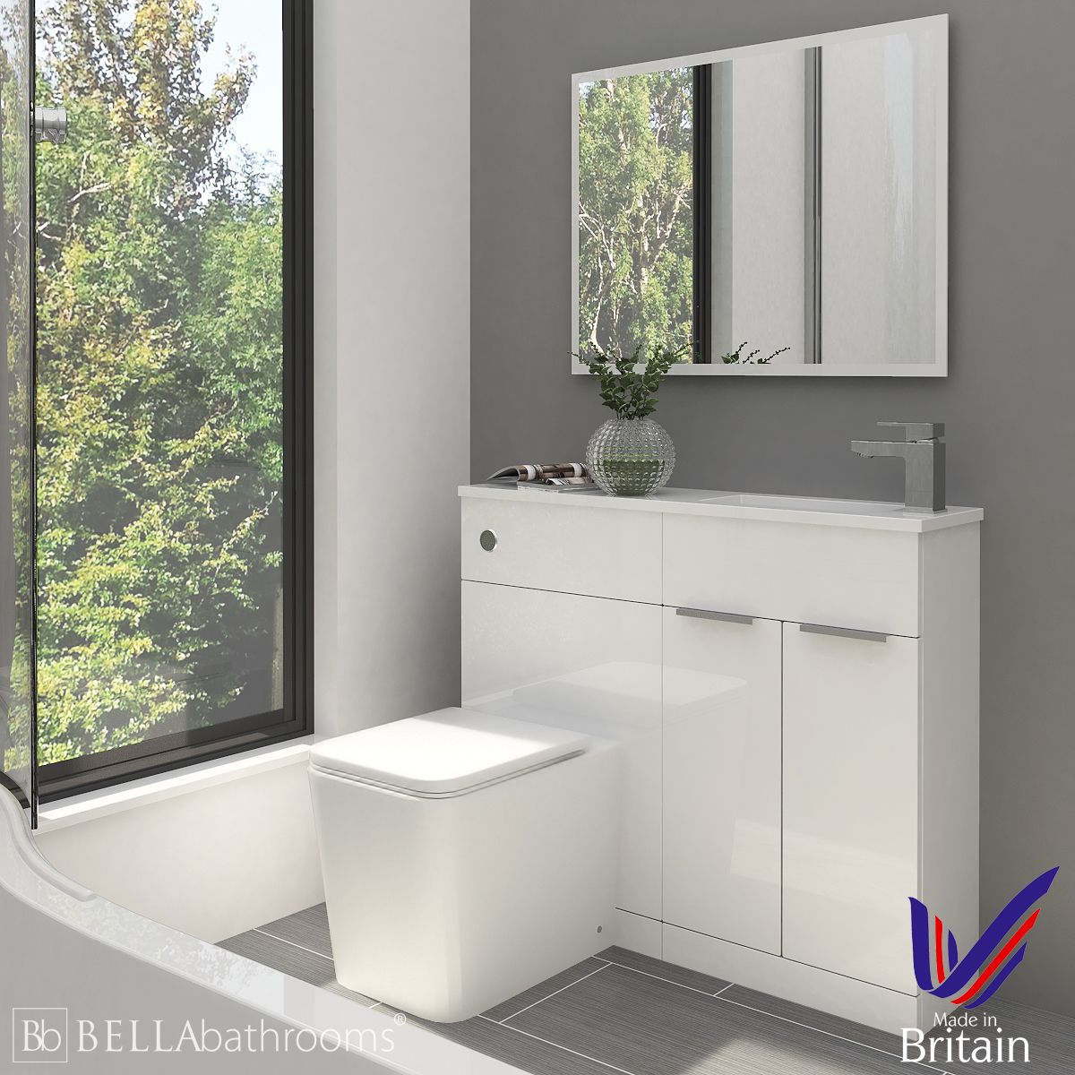 Elation Combination Straight White Furniture Pack 1000mm Right Hand with Brearton Toilet