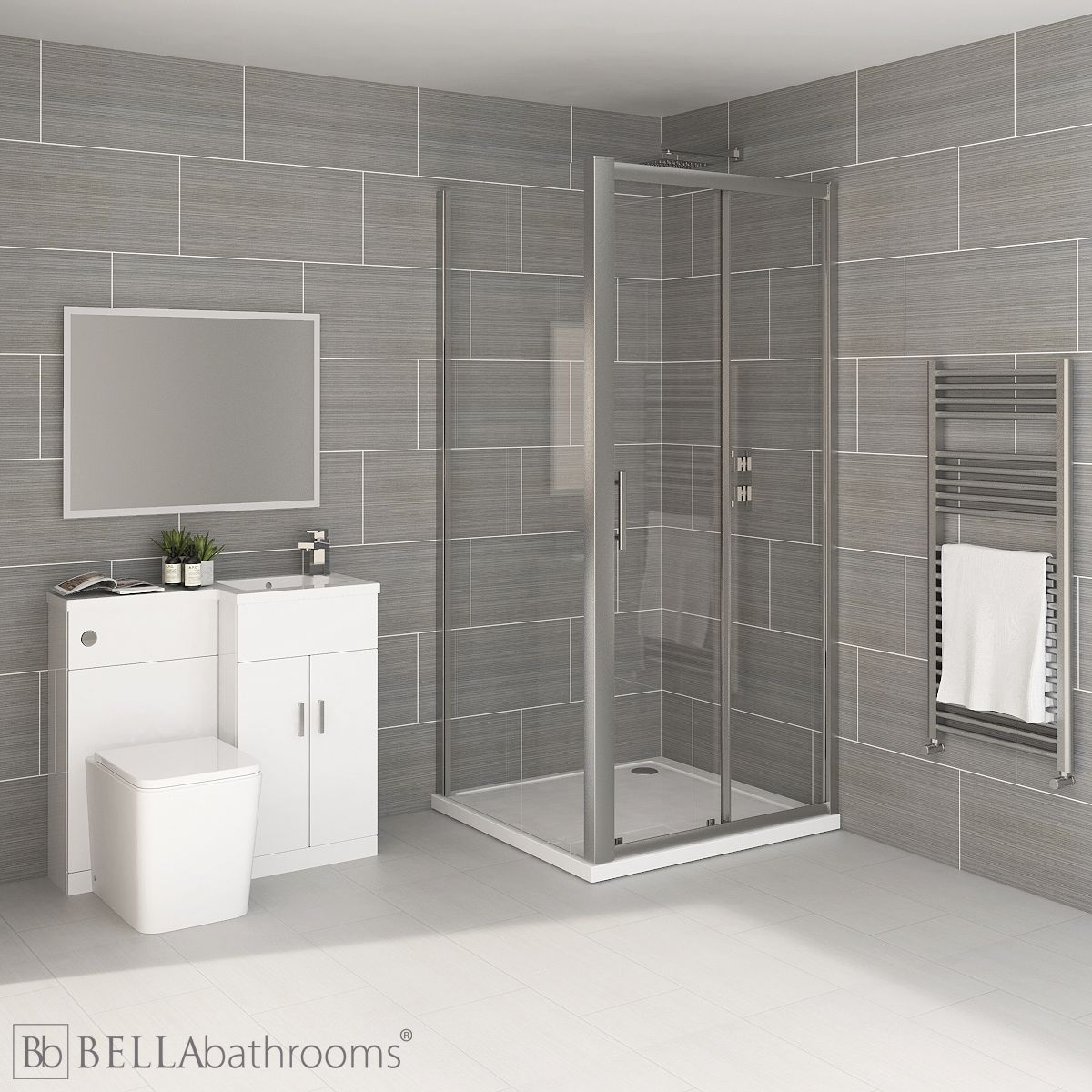 Elation Compact Combination L Shape White Furniture Suite with April Destini Sliding Shower Enclosure