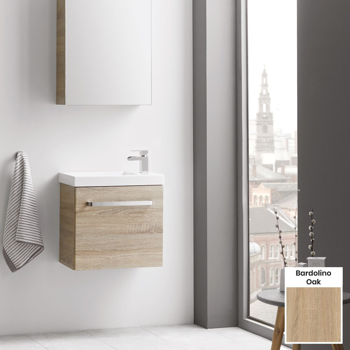 Elation Eko Bardolino Oak Vanity Unit with Groove Door 450mm