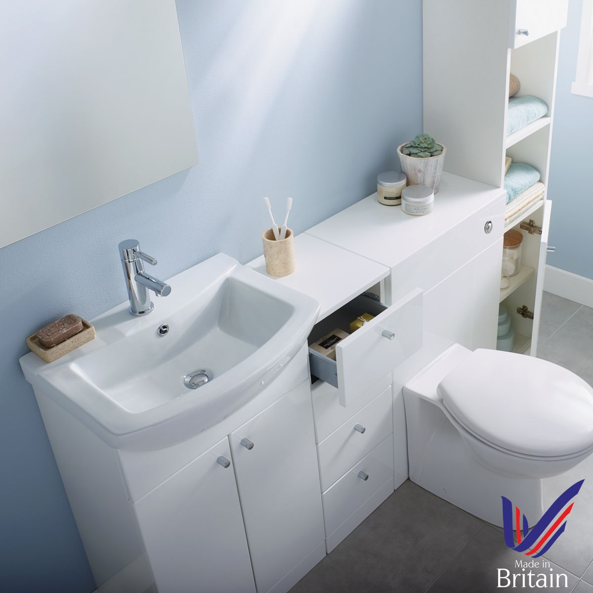 Ikoma White Gloss Vanity Unit with Basin 750mm Overhead