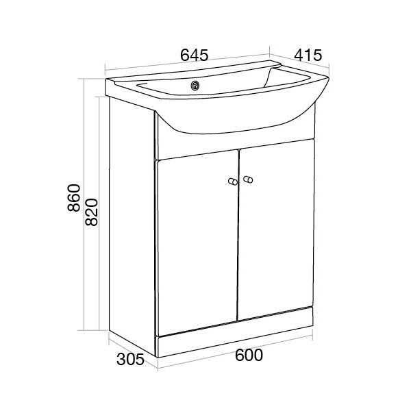 Ikoma White Gloss Vanity Unit with Basin 650mm Dimensions