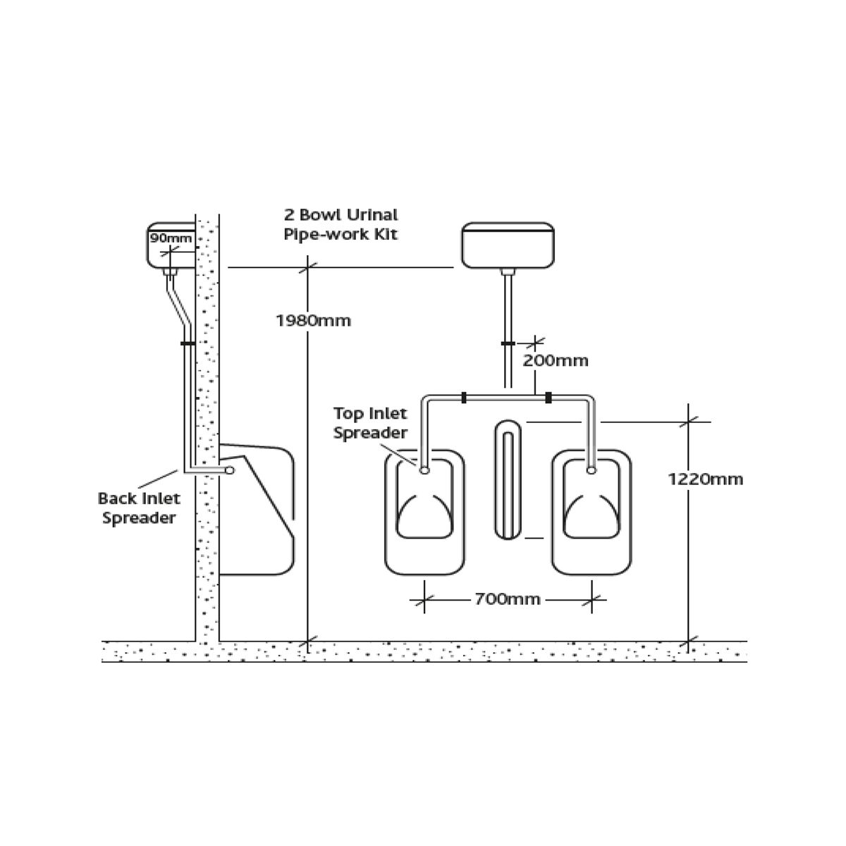 RAK Exposed Automatic Urinal Cistern 9.0L Measurements