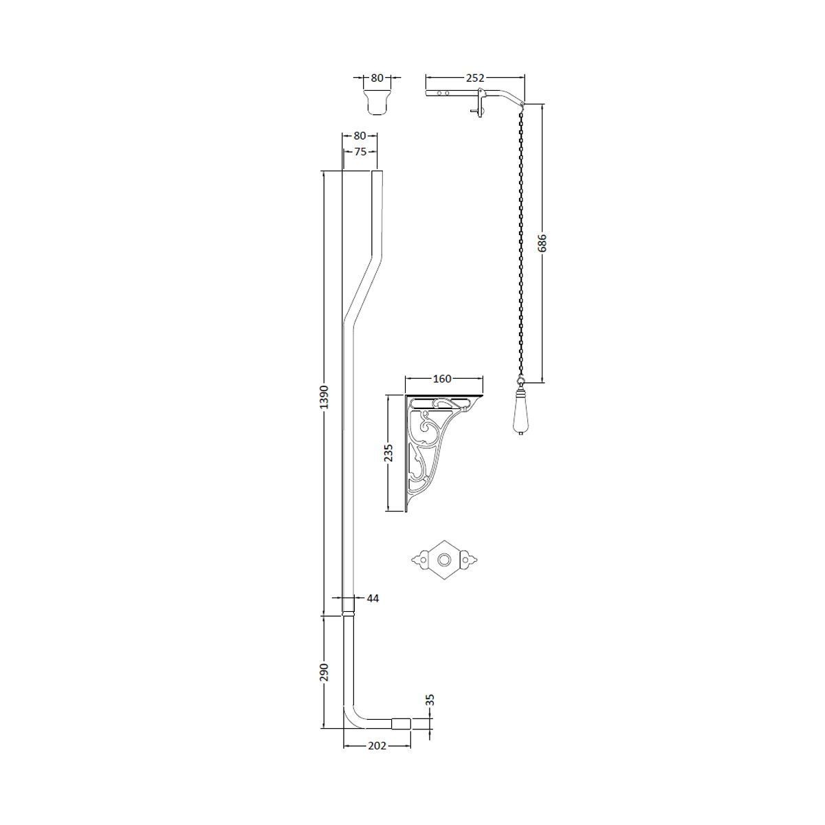 Hudson Reed Richmond High Level Toilet Pipe Set Drawing