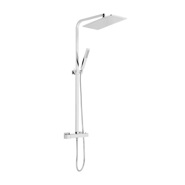Frontline Palermo Thermostatic Shower Column with Rectangular Rotating Fixed Head