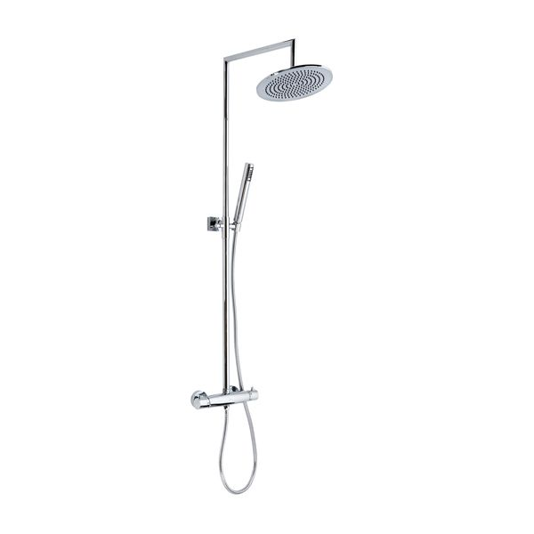 Frontline Rimini Thermostatic Shower Column with Chrome Fixed Head