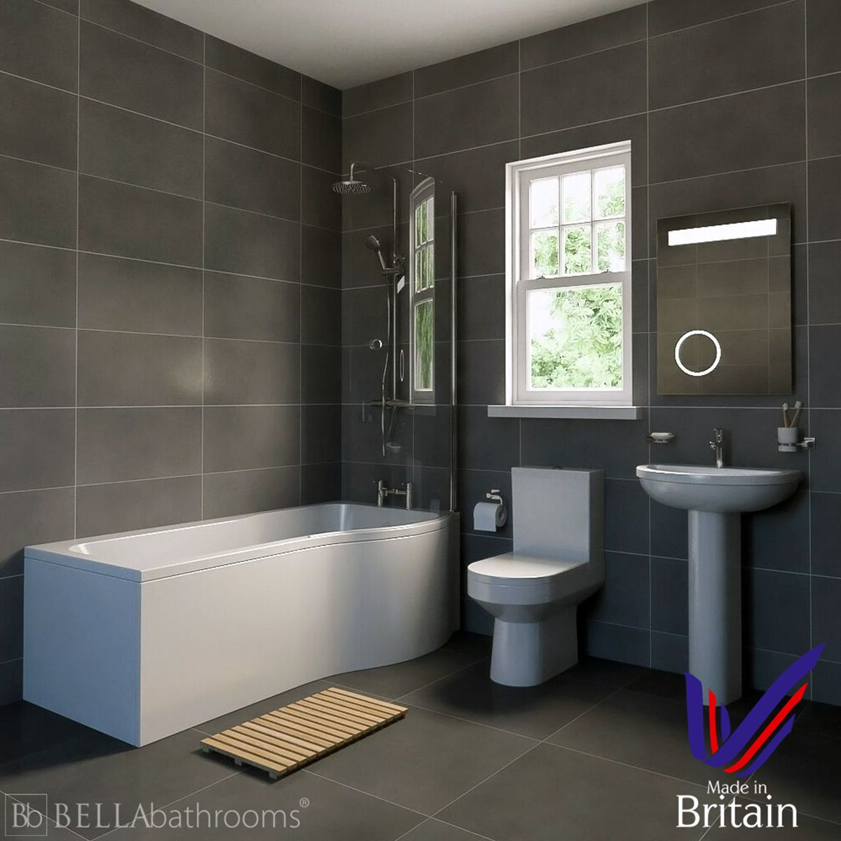 Harmony Right Handed P Shaped Shower Bath Suite