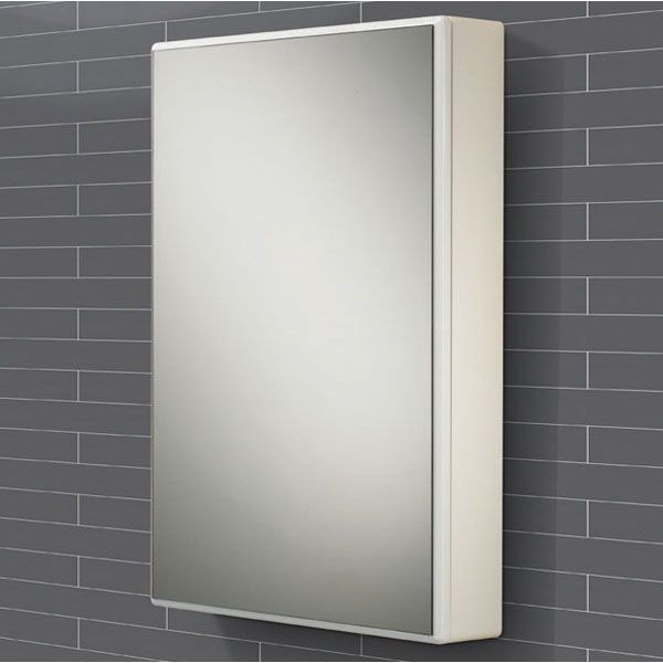 HiB Tulsa White Single Door Bathroom Mirrored Cabinet