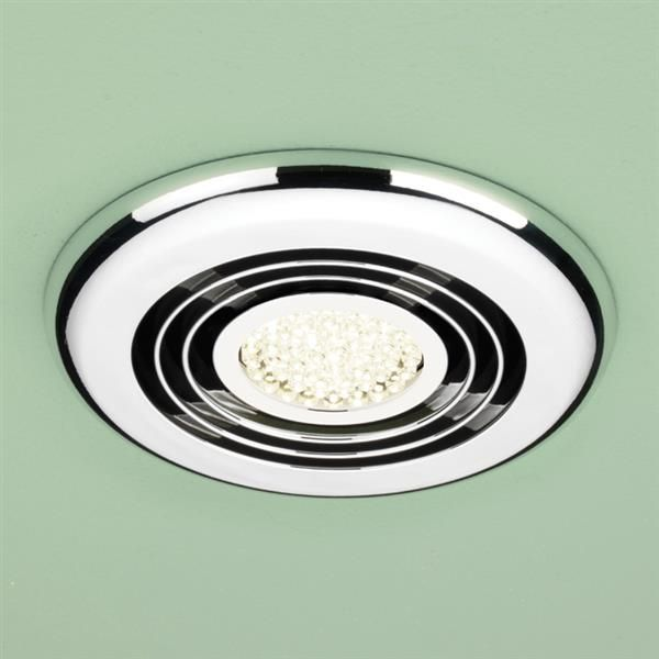 HiB Turbo Warm LED Inline Bathroom Extractor Fan in Chrome
