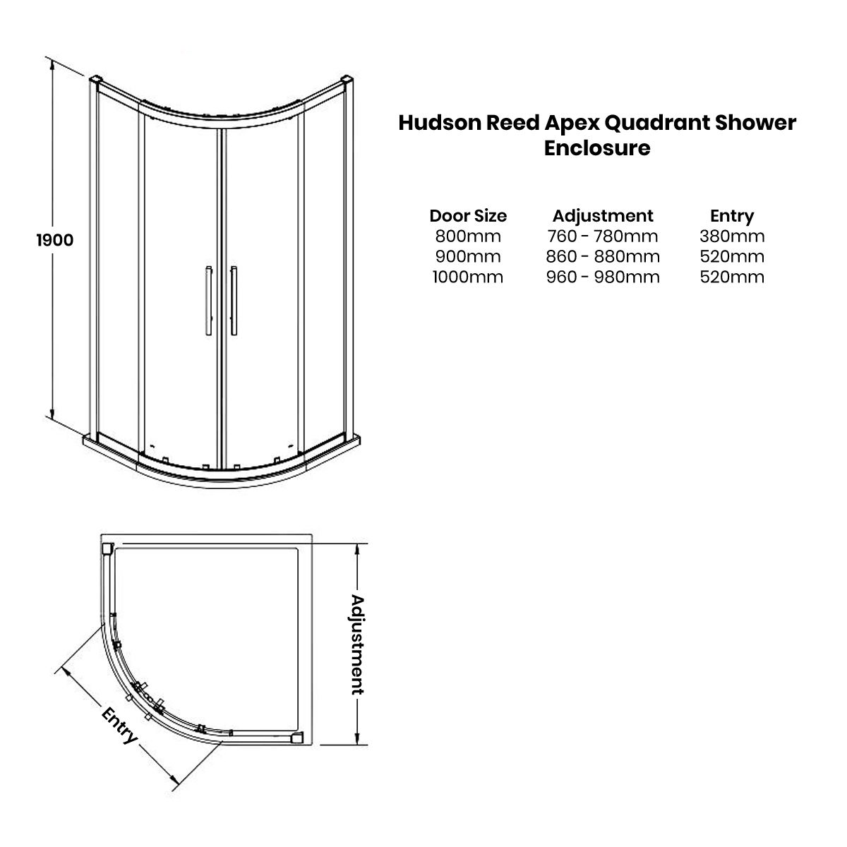 Hudson Reed Apex Quadrant Shower Enclosure Dimensions