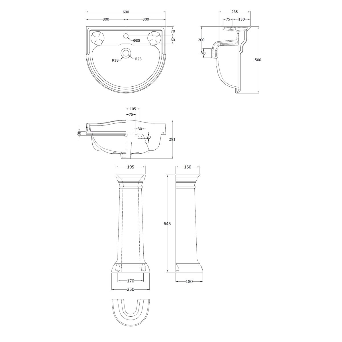 Hudson Reed Chancery 1 Tap Hole Basin 600mm Dimensions