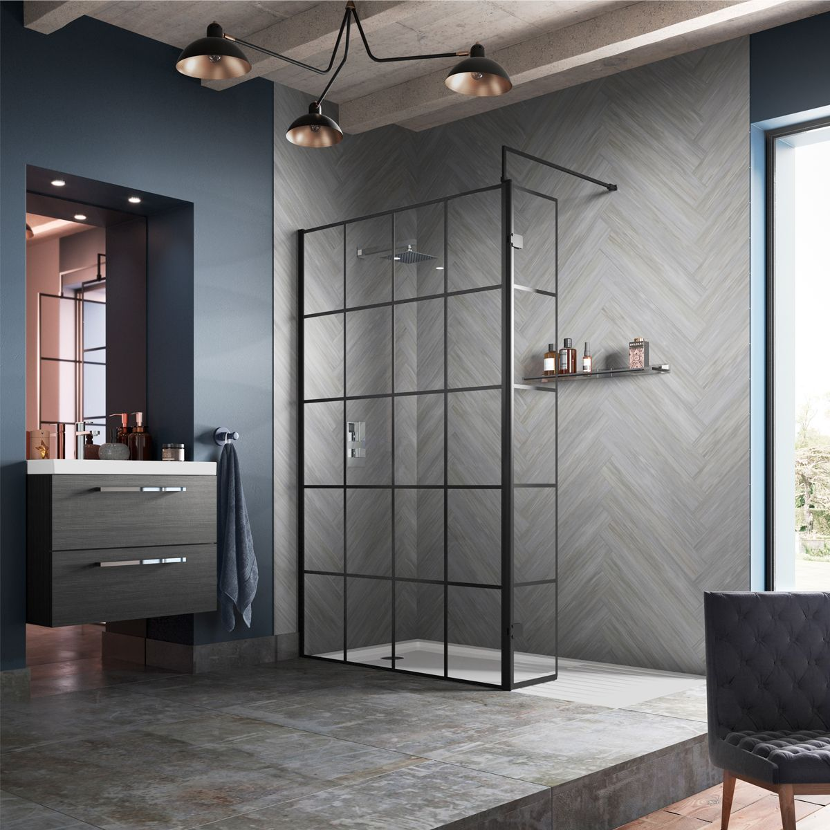 Hudson Reed Framed Black Wet Room Shower Enclosure