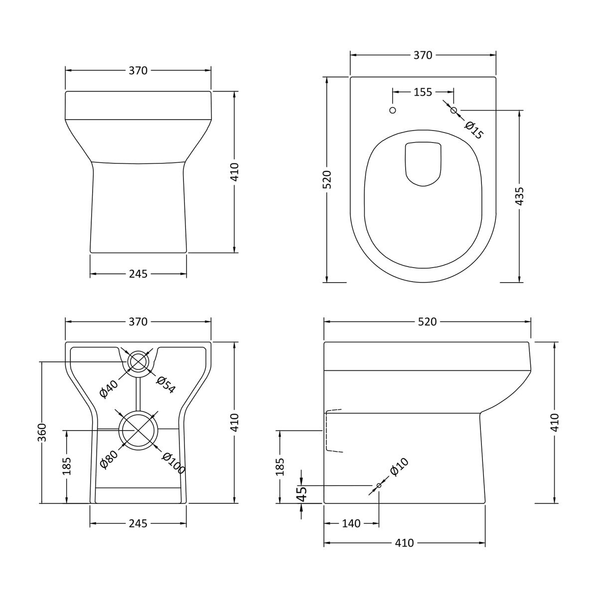 Hudson Reed Harmony Back To Wall Toilet Dimensions