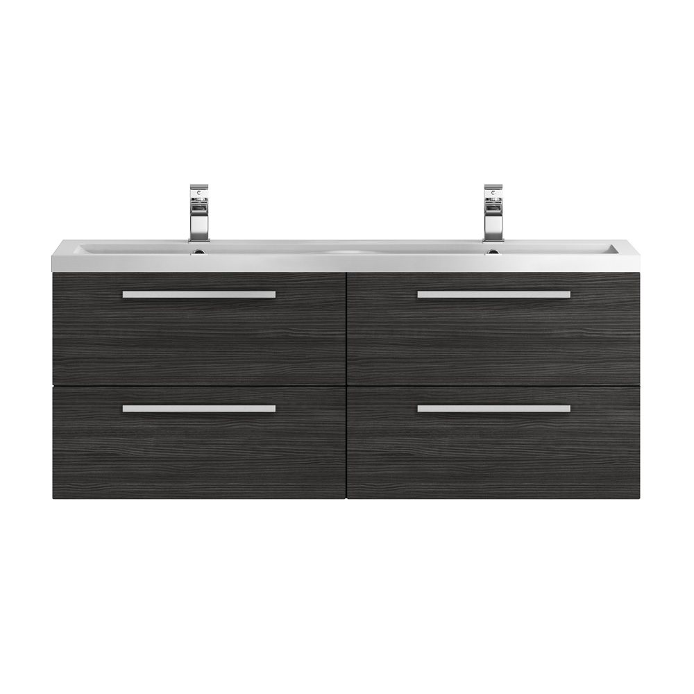 Hudson Reed Quartet Hacienda Black Double Vanity Unit 1440mm