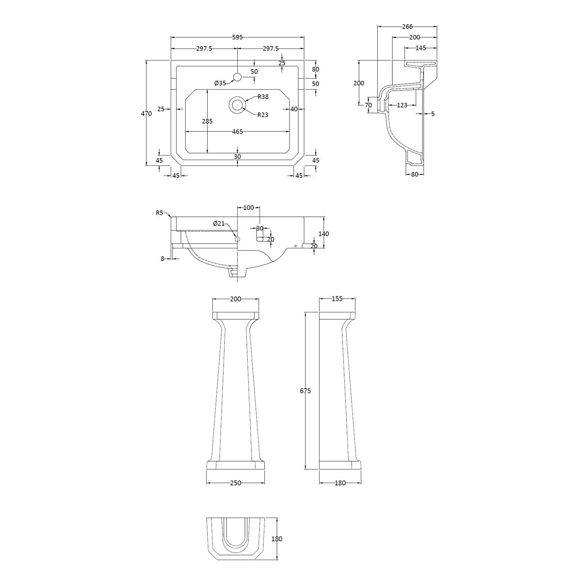 Hudson Reed Richmond 1 Tap Hole Basin with Full Pedestal 600mm Dimensions