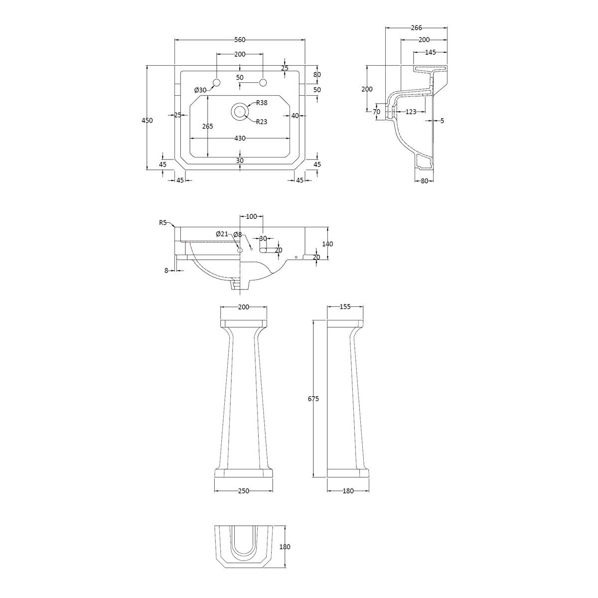 Hudson Reed Richmond 2 Tap Hole Basin with Full Pedestal 560mm  Drawing